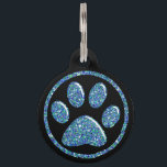 "Pet ID Tag - Teal Blue Bling Paw Print on Black<br><div class=""desc"">Pet ID Tag - Teal Blue Bling Paw Print on Black  - Customize with Your Pet&#39;s Name,  Your Name and Your Number</div>"
