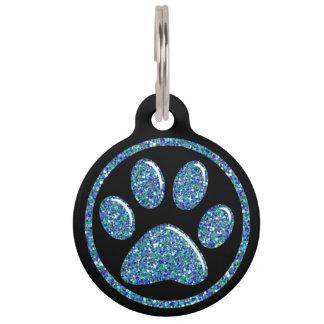 Pet ID Tag - Teal Blue Bling Paw Print on Black