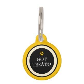 Pet ID Tag - Yellow & Black- Got Treats