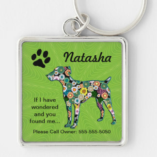 Pet Keeper ID Silver-Colored Square Keychain