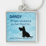 Pet Keeper ID Tag Silver-Colored Square Keychain