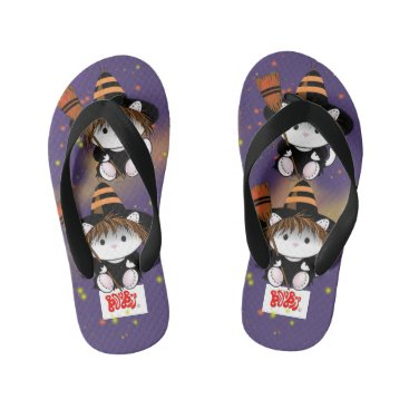 Beach Themed PET LITTLE WITCH  Flip Flops Kids  Toddler