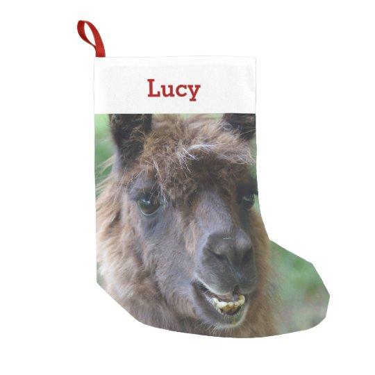Llama Christmas Stocking.Pet Llama Lover Owner Photo Name Personalized Small Christmas Stocking