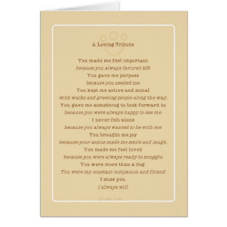 Pet Loss Dog Tribute Poem from Group Card