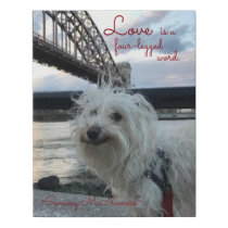 "Pet ""Love is a Four-Legged Word"" with Pet Name Faux Canvas Print"