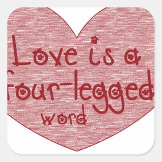 Pet Love Square Sticker