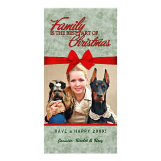 Pet Lover Christmas Family Photo Red and Green Card