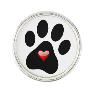 Pet Lover Paw Print & Heart Lapel Pin Adopt Rescue