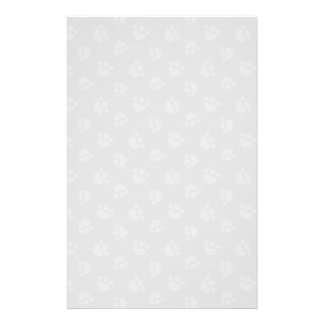 Pet Lover Paw Print Hearts Platinum Stationery