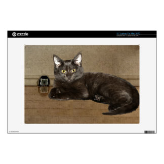 Pet-lovers Black Cat and Mouse for Cat-fanciers Laptop Decal