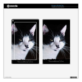 Pet-lovers Black & White Cat on Electronics Skin Kindle Fire Decal