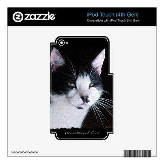 Pet-lovers Black & White Cat on Electronics Skin Skin For iPod Touch 4G