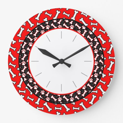 Pet Lover's Dog Bone and Paw Print Round Wall Clock