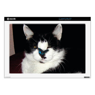 Pet-lovers Funny Black and White Cat & Butterfly Skins For Laptops