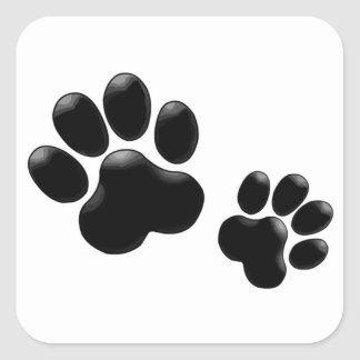 Pet Lovers! Pup and Kitty PawPrints Square Sticker
