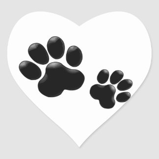 Pet Lovers! Pup and Kitty PawPrints Heart Sticker