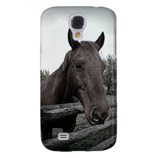 Pet me! Black and White Horse Photo Galaxy S4 Cover