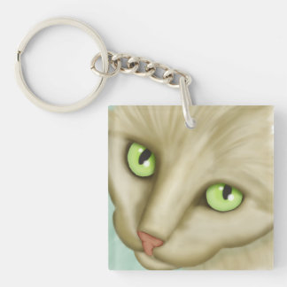 Pet Me? Tan Tabby Cat Face Square Keychain Square Acrylic Key Chains