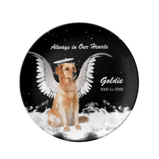 Pet Memorial Angel Dog - Golden Retriever Custom Porcelain Plate