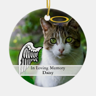 Pet Memorial Angel Wing & Halo Custom Name Ceramic Ornament