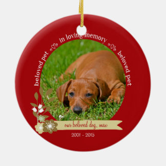 Pet Memorial at Christmas custom photo name Ceramic Ornament