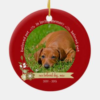 Pet Memorial at Christmas custom photo name Ceramic Ornament
