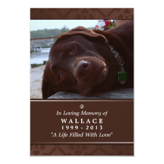 """Pet Memorial Card 3.5"""" x 5"""" - Dark Brown Photo"""