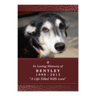 """Pet Memorial Card 3.5 x 5"""" Maroon - Contented Poem"""