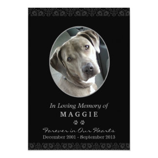 "Pet Memorial Card 5""x7"" Black Oval Photo Frame"