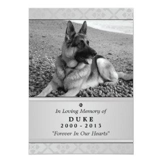 "Pet Memorial Card 5""x7"" Gray Modern - Male Pet"