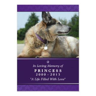 "Pet Memorial Card 5""x7"" Purple Photo - Female Pet"