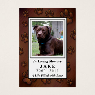 Pet Memorial Card - Chocolate Brown Photo Frame
