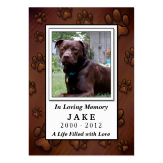 Pet Memorial Card - Chocolate Brown Photo Frame Large Business Cards (Pack Of 100)