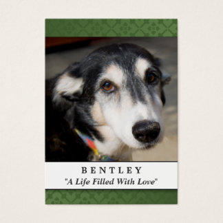 Pet Memorial Card Forest Green Do Not Weep Poem