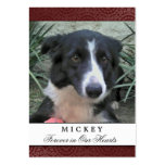 Pet Memorial Card Maroon Photo - Do Not Weep Poem Large Business Cards (Pack Of 100)