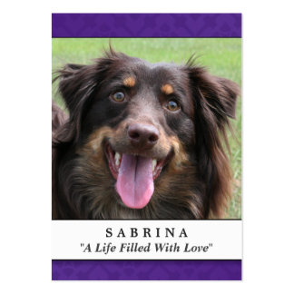 Pet Memorial Card Purple Modern Do Not Weep Poem Large Business Cards (Pack Of 100)