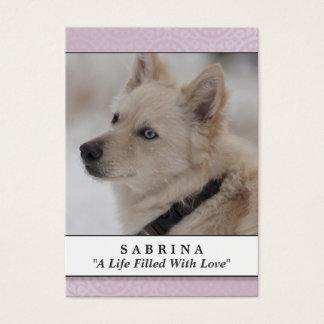 Pet Memorial Card Soft Pink - Do Not Weep