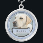"""Pet Memorial Charm Necklace for Dogs<br><div class=""""desc"""">Memorialize a beloved pet with this lovely charm necklace.  Just replace the photo we used with one of your best buddy,  change the text (currently reads BUDDY),  and you have a lasting memorial charm necklace.  Keep your departed pet's memory alive!</div>"""