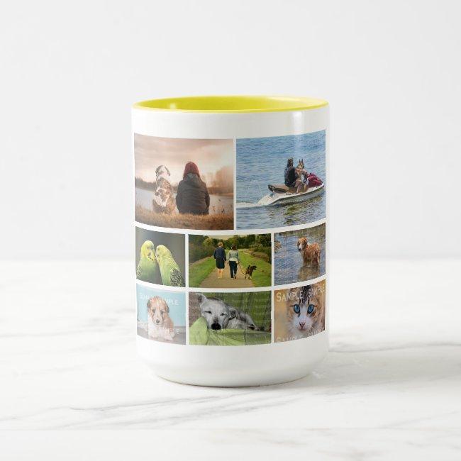 Pet memorial custom 8 photo collage keepsake mug