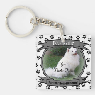 Pet Memorial - Forever Remembered - Pet Loss Dog Square Acrylic Key Chain