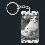 """Pet Memorial - Forever Remembered - Pet Loss Dog Keychain<br><div class=""""desc"""">A beautiful keepsake key chain to remember your beloved pet with.   Upload your own photo and change the text info to personalize this design to meet your needs.  If you need help customizing this memorial email me at patcald@telus.net and I&#39;ll gladly help you.</div>"""