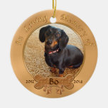 Pet Memorial Gifts Personalized 2 PHOTOS, 3 TEXT Double-Sided Ceramic Round Christmas Ornament