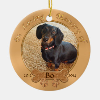 Pet Memorial Gifts Personalized 2 PHOTOS, 3 TEXT Christmas Ornament