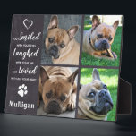 """Pet Memorial Loss Quote - Rustic Photo Collage Plaque<br><div class=""""desc"""">Celebrate your best friend with a custom pet memorial plaque . This photo collage plaque is the perfect gift for yourself, family or friends to honor those loved . We hope your photo plaque will bring you joy , peace , and happy memories . Quote : """" You Smiled with...</div>"""