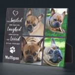 "Pet Memorial Loss Quote - Rustic Photo Collage Plaque<br><div class=""desc"">Celebrate your best friend with a custom pet memorial plaque . This photo collage plaque is the perfect gift for yourself, family or friends to honor those loved . We hope your photo plaque will bring you joy , peace , and happy memories . Quote : "" You Smiled with...</div>"