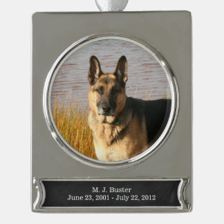 Pet Memorial Ornament | Silver, FAUX Chalkboard Silver Plated Banner Ornament