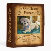 Pet Memorial Photo Album Binder with Picture, Text