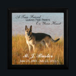 "Pet Memorial Photo Memento Box<br><div class=""desc"">This pet memorial box has an area to upload your own image into, along with the name and dates of birth and death of your beloved pet. There is also a verse that says &quot;A True Friend Leaves Paw Prints On Your Heart&quot;, which is customizable. You can use this large...</div>"