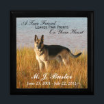 """Pet Memorial Photo Memento Box<br><div class=""""desc"""">This pet memorial box has an area to upload your own image into, along with the name and dates of birth and death of your beloved pet. There is also a verse that says &quot;A True Friend Leaves Paw Prints On Your Heart&quot;, which is customizable. You can use this large...</div>"""