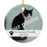 Pet Memorial Photo Ornament Dog or Cat Customized